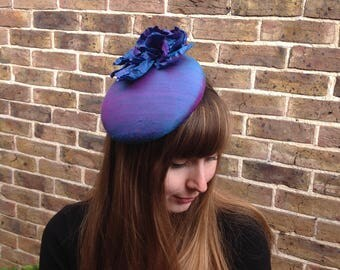 Blue Silk Hat, Two Tone Hat, Purple Cocktail Hat, Wedding Mini Hat, Blue Fascinator, Blue Pink Pill Box Hat, Garden Party Hat, Church Hat