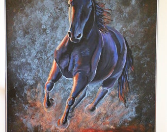 Color in Motion- Hand painted Contemporary Equine Art 3' x 4'
