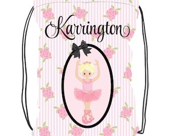 Personalized Ballet Bag - Custom Dance Bag - Ballet Bag With Name - Jazz Bag - Dance Bag - Backpack Drawstring - Ballerina Bag
