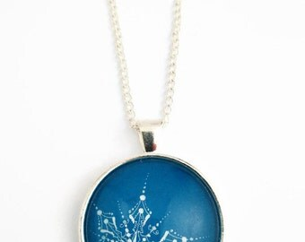 Round pendant - Hand drawn - Snowflake jewelry - Blue necklace - Snowflake necklace - Pendant necklace - Gift for her - Ink drawing