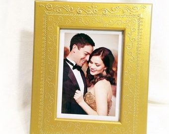 GOLD Wedding Picture Frame. Handmade GOLD Anniversary Picture Frame. Gold Filigree Collection. Gold Gatsby Wedding gift. Gold Photo Frame.