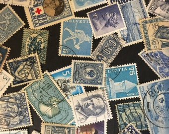 Postage stamps - color BLUE- assortment of 25
