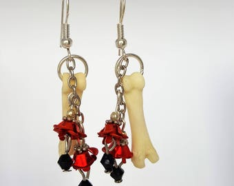 Real Mountain Cat Toe Bone Earrings with Red Beads (Ethically sourced) Jewellery Jewelry