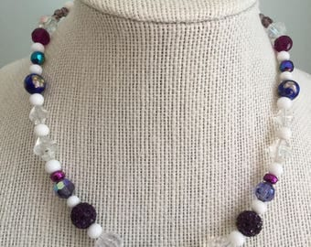 """Upcycled Jewelry """"Purple Majesty"""" Beaded Necklace - Made with Vintage/ Recycled Materials"""