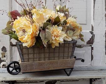 Fall floral arrangement/Rustic wheelbarrow centerpiece/Fall flowers real arrangement/Farmhouse kitchen decor/Coffee table Fall decor