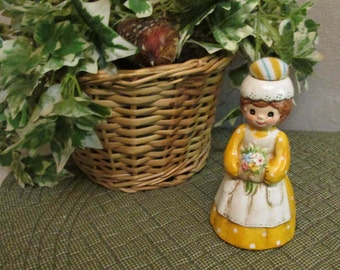 Vintage 1960's-70's Antiqued Sweet Lady Chalk Bisque Figurine Sewing Notion Pin Cushion Hat & Tape Measure Japan