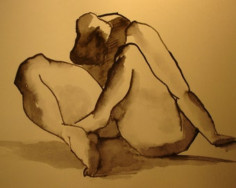Sexy nude, original female nude from ink and watercolor, nude body drawing, A4
