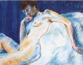 Pastel drawing, original, naked woman, nude drawing, by Frantisek Kupka, nude body drawing