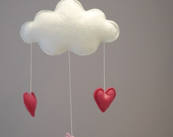 Mobile baby, mobile felt, mobile, cloud, hearts, decoration baby, baby mobile