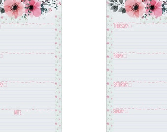 Week on two pages - Filofax Personal - Watercolor Flower