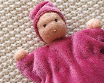 Cuddle doll, Waldorf baby doll, Waldorf doll, Waldorf toys, pink, soft doll, for kids, plush toy, first doll
