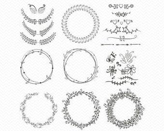 Hand drawn Laurel wreath SVG- Monogram Frames for Silhouette- Leaves wreath png, eds, dxf for Instant Download- Cricut Explore, wreaths