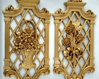 Hollywood Regency Syroco Wall Plaques / Floral / Trellis / Pair Floral Wall Art / Gold / Wall Plaques / Syroco / Hollywood Regency