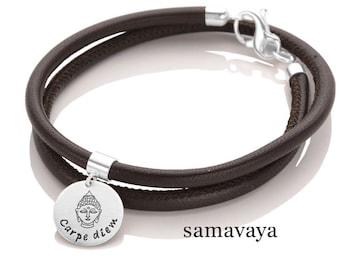 CARPE DIEM leather bracelet leather 925 silver bracelet Buddha