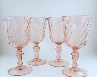 Rosaline Pink Swirl Water Goblets/Wine Glasses By ARCOROC France/Set Of 4