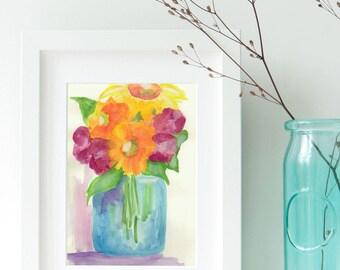 Mason Jar Bouquet Print