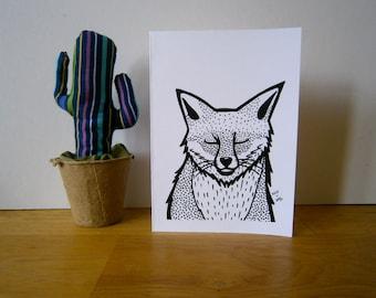 Smiling Fox. Greeting card. Blank card.