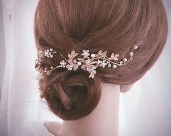Wedding Hair Vine, Bridal Head Piece, Bridal Hair Accessory, Gold Hair Piece, Silver Hair Accessory, Rose Gold Hairpiece