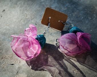 Purple organza earrings; ballerina earrings; prom night; bridesmaid earrings; summer earrings; tender earrings.