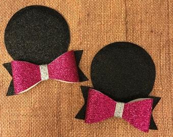 Pink Minnie Ears / dark pink minnie ears / pigtail ears / mouse ears