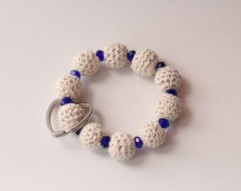 Crochet All Day Keychain Bracelet (White Crochet & Blue)