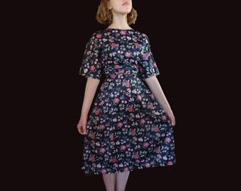 Vintage floral dress, black floral dress, black satin dress, floral satin dress, floral midi dress, black midi dress M L XL