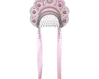 "Russian Traditional Folk Costume - Headdress Kokoshnik ""Elena"" pink #538"