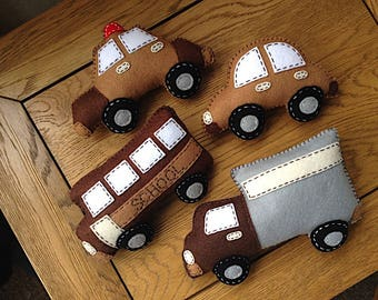 Set of 4, Felt Toy Play Set, Car, Truck, School Bus, Police Car, Transport, Vehicles, Transportation Play Set, Stuffed Toys, Nursery Decor