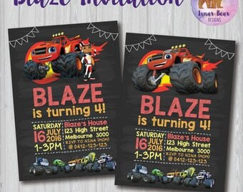 Blaze and the Monster Machines Invitation, Blaze and the Monster Machines Birthday Party, Monster Truck Invitation, Blaze and AJ, Toddler