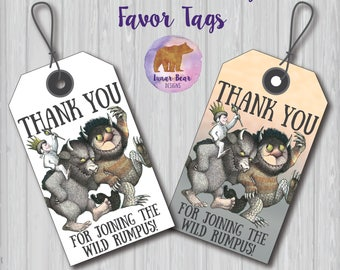 Where the Wild Things Are Tags, Where the Wild Things Are Favours, Where the Wild Things Are Party, Where the Wild Things Are Favors