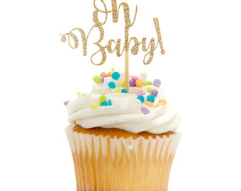 12 CT Glitter Oh Baby! Cupcake Topper Calligraphy Cursive Script Baby Shower Cupcake Topper Glitter Baby Shower Decoration Baby Girl Boy
