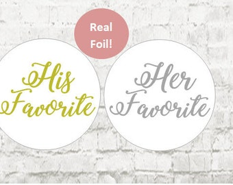 His Favorite Her Favorite Stickers,  Foil Gold Wedding Stickers, Favorites Wedding Favor Stickers, Wedding Favor Bag Sticker