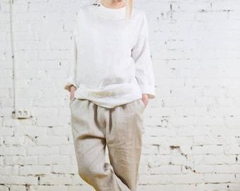 Linen kimono tunic, linen shirt, linen tunic, drop shoulder linen, oversize linen top, loose linen top, drop shoulder sleeve/LB0002