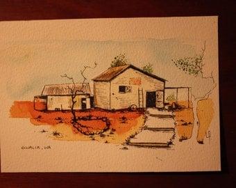 Gwalia WA, Ghost town watercolour + ink, original piece