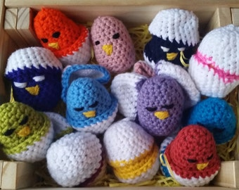 6 small Easter chicks / plush 6 chicks-shells / 6-eggs-surprises-chicks / hunt for commies (6) / association of color games.