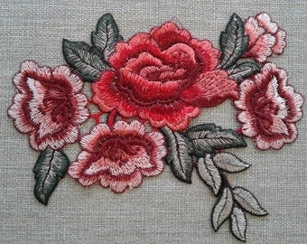 Sew on rose flower patch applique