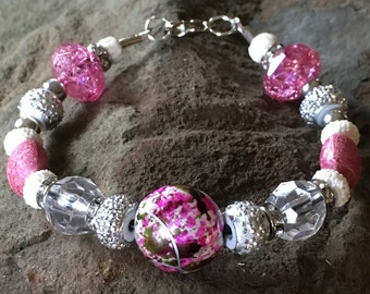 Pink European Style Beaded Bracelet