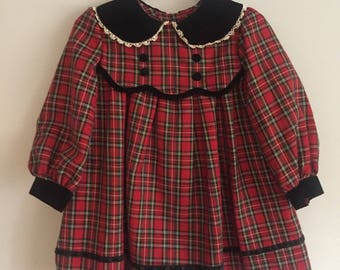Bonnie Jean 1980s  Infant Girl Plaid dress with Velvet Peter Pan Collar and Faux vest 2T