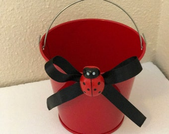 Lady bug favors pail, lady bug favor boxes, lady bug birthday theme, lady bug containers