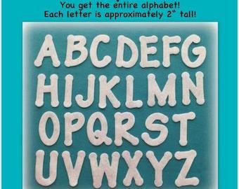 "Felt alphabet READY TO SHIP A-Z, 26 letters precut die cut uppercase scrapbooking cardmaking craft banner 2""  school embellishment patch"