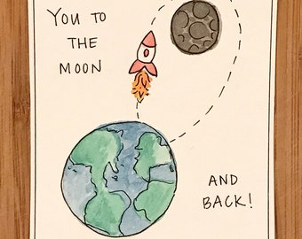 To the Moon & Back - Watercolor Card