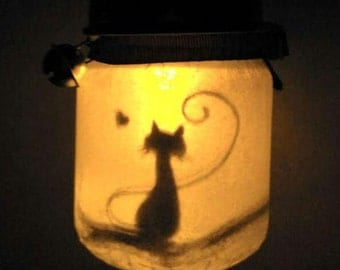 Cat in love - little light jar