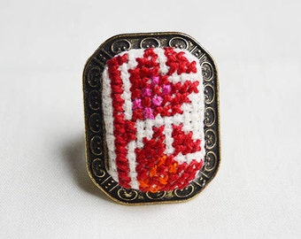 Handmade Palestinian flower embroidery ring