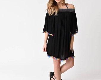 BOHO HEROINE FASHIONS:  Off-The-Shoulder Black Dress/Cover-Up w/Elastic Ric-Rac Neckline & Pom-Pom Fringe Trim, 2 Colors - Black, Beige