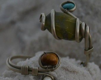 Turquoise and Tigers Eye bracelet cuff