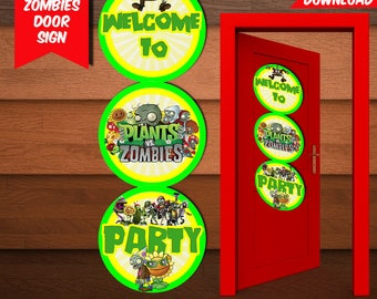 Plants VS Zombies Door Sign-Printables Plants Zombies Door Sign-Digital Plants Door Sign-Plants Zombies Party Decoration-DIGITAL DOWNLOAD