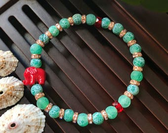 6mm Matte Green Fire Agate / Coral Elephant Yoga Mala Beaded Bracelet. Healing Natural Gemstone Bracelet. Stretch Bracelet. Boho Bracelet.