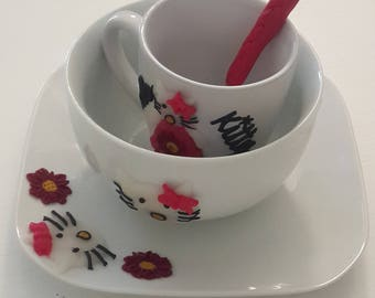 Kids dining set- Hello Kitty- Kids Gift- Birthday- Baptism