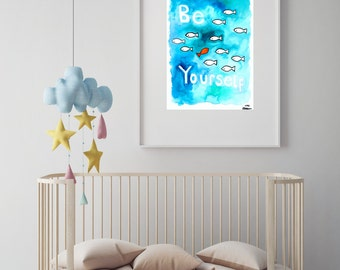 "Fish illustration nursery art print//baby shower//baby gift//nursery decor//nursery wall art//ocean nursery//sea nursery//""be yourself"""