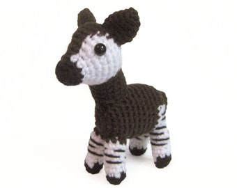 Crochet Amigurumi Cute Brown Okapi Stuffed Animal Plush Toy Handmade
